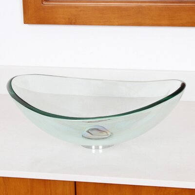 Bathroom Sinks Glass elite mini tempered glass boat oval vessel bathroom sink & reviews