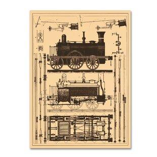 Locomotive wall art wayfair locomotive blueprint graphic art print on wrapped canvas malvernweather Gallery
