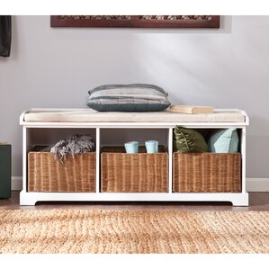 lindell wood storage entryway bench
