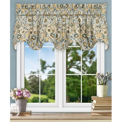 Adelle Jacobean Floral Lined Scallop 70 Curtain Valance