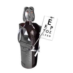 Female Eye Doctor 1 Bottle Tabletop Wine Rack by H & K SCULPTURES