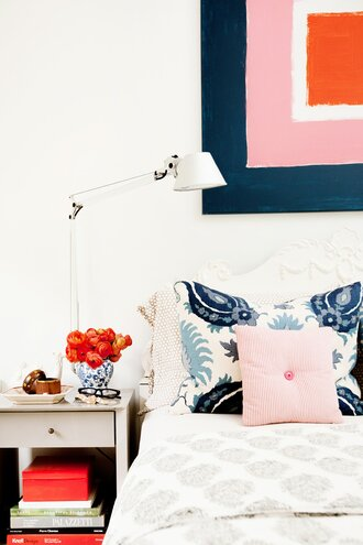 A Bedroom With Country Blue And White Linens Colorful Square Wall Art