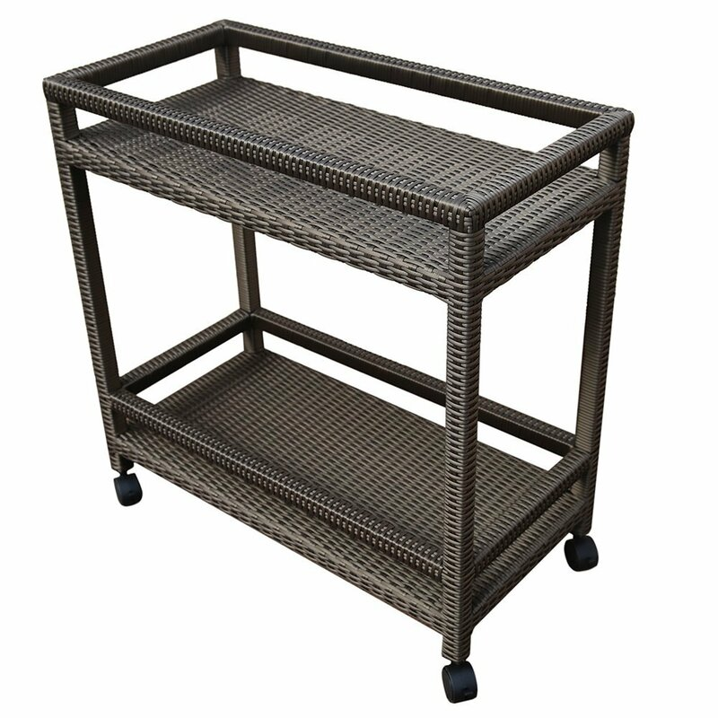 Outdoor Wicker Bar Cart With Shelves And Wheels
