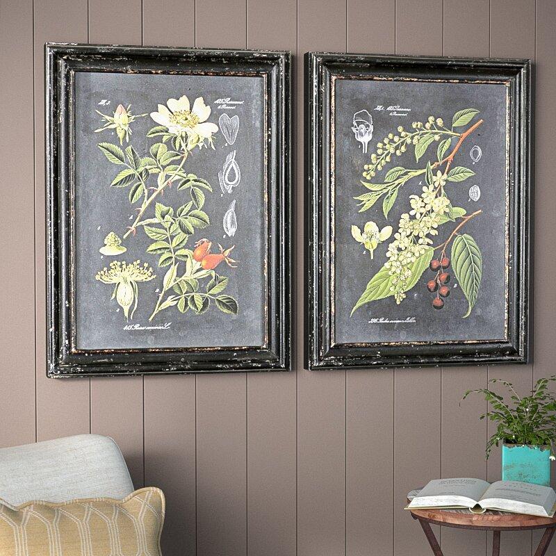 b029a257f74 Laurel Foundry Modern Farmhouse  Midnight Botanicals  2 Piece Framed  Photographic Print Set on Wood   Reviews