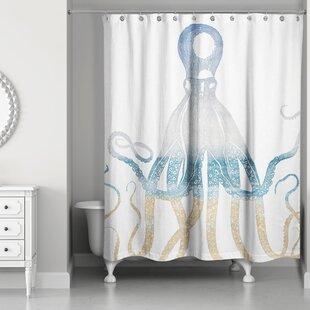 Blue Octopus Shower Curtain