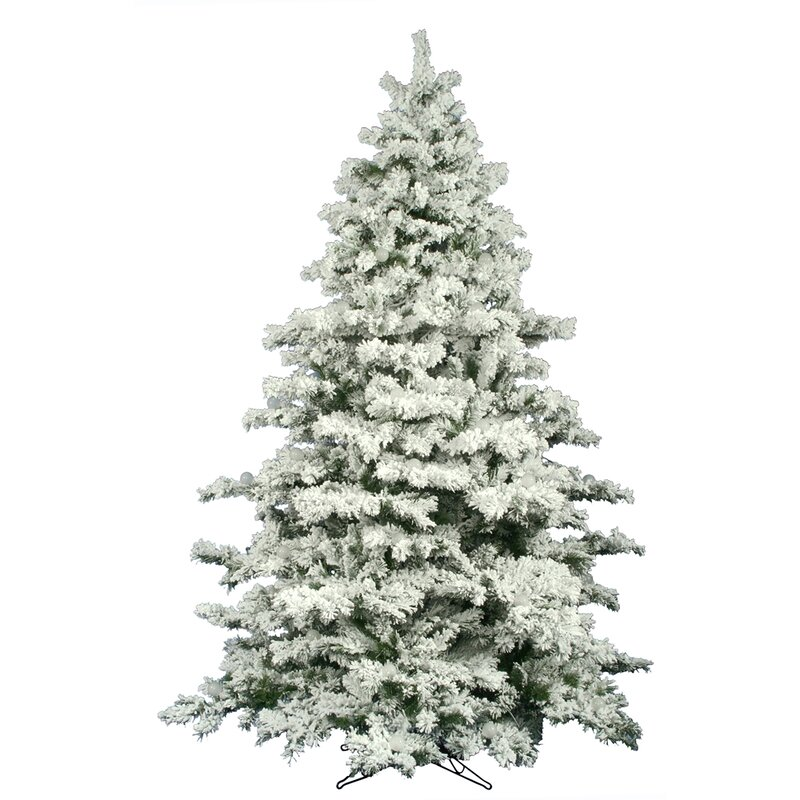 Flocked Alaskan 9' White Pine Artificial Unlit Christmas Tree with Stand - The Holiday Aisle Flocked Alaskan 9' White Pine Artificial Unlit