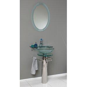 Vetro 24 Single Ovale Modern Bathroom Vanity Set With Mirror