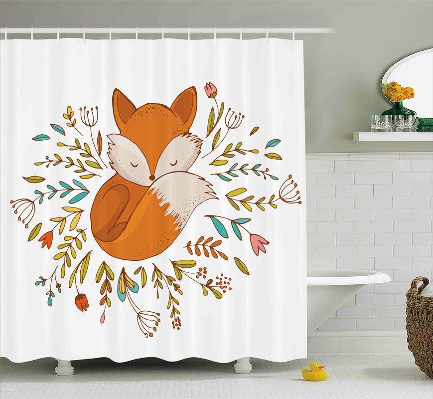 Jefferson Cute Baby Fox Flowers Shower Curtain