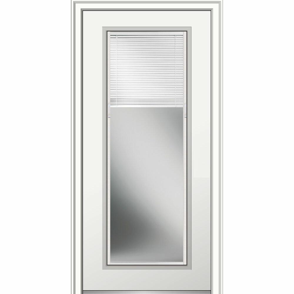 Verona Home Design Fiberglass 9 Lite Primed Prehung Front Entry Door