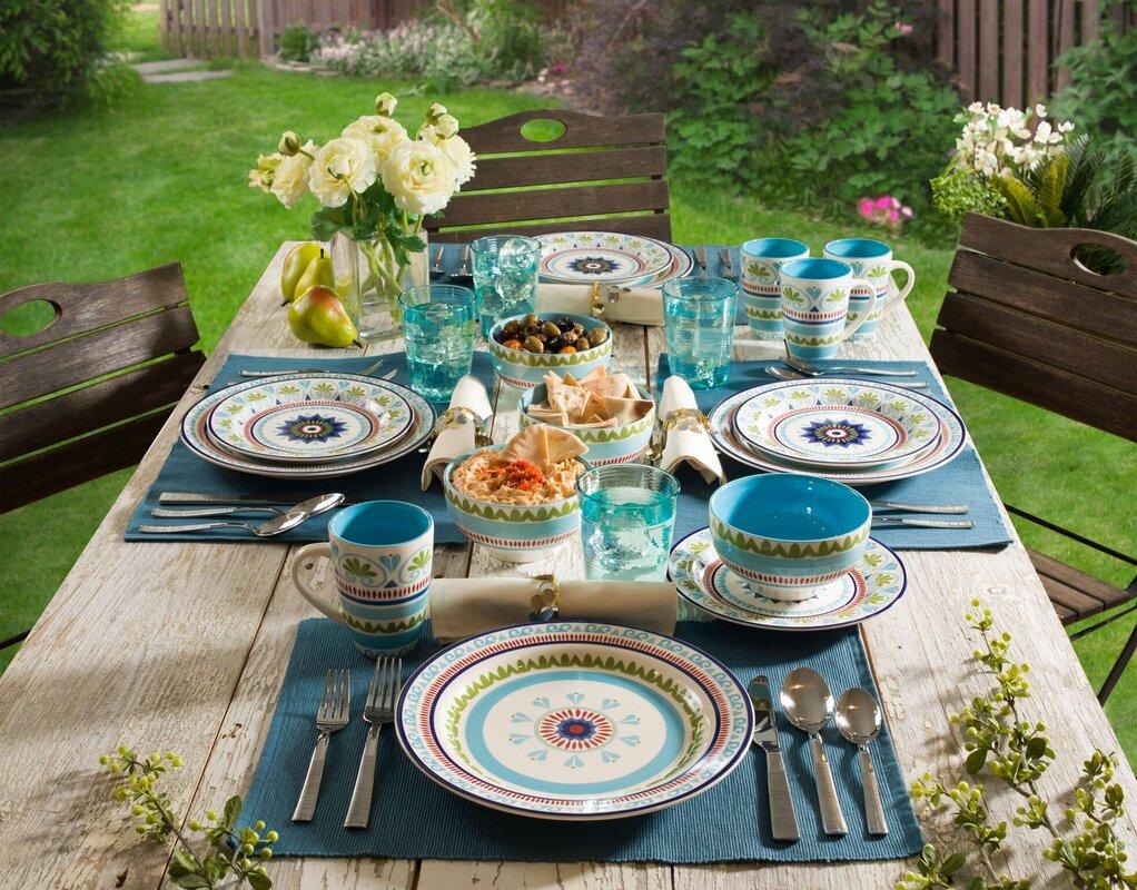 Euro Ceramica Marrakesh 16 Piece Dinnerware Set, Service for 4 ...