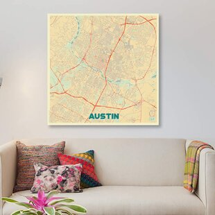 Trent austin urban wayfair austin retro urban blueprint map graphic art print on canvas malvernweather Choice Image