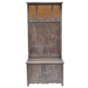 Rustic 2 Door Antique Mirror Hall Tree