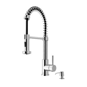 edison pull out single handle kitchen faucet with soap dispenser