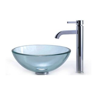 053ec5e02ef Clear Glass Glass Circular Vessel Bathroom Sink with Faucet