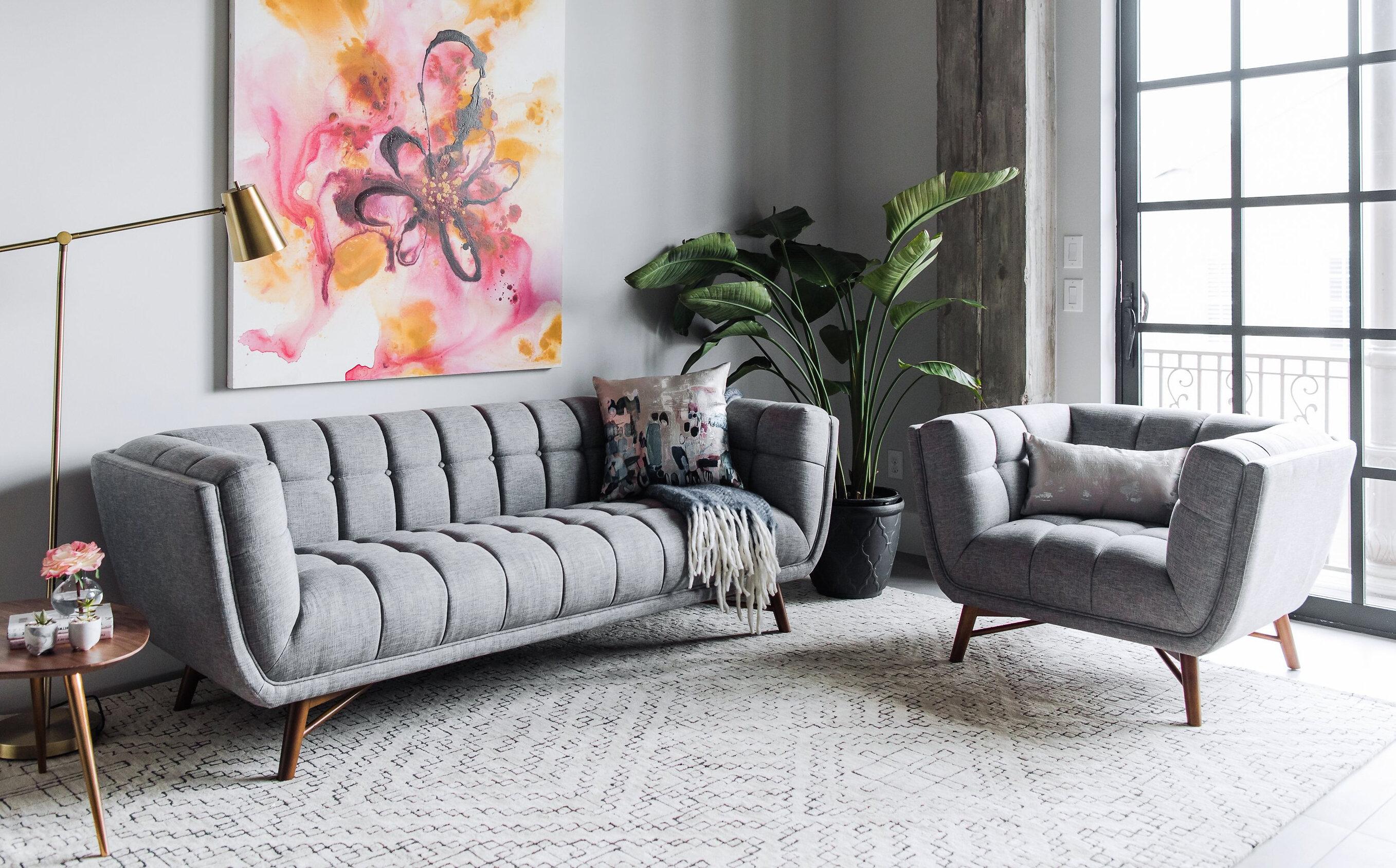 George oliver wolken mid century modern 2 piece living room set wayfair