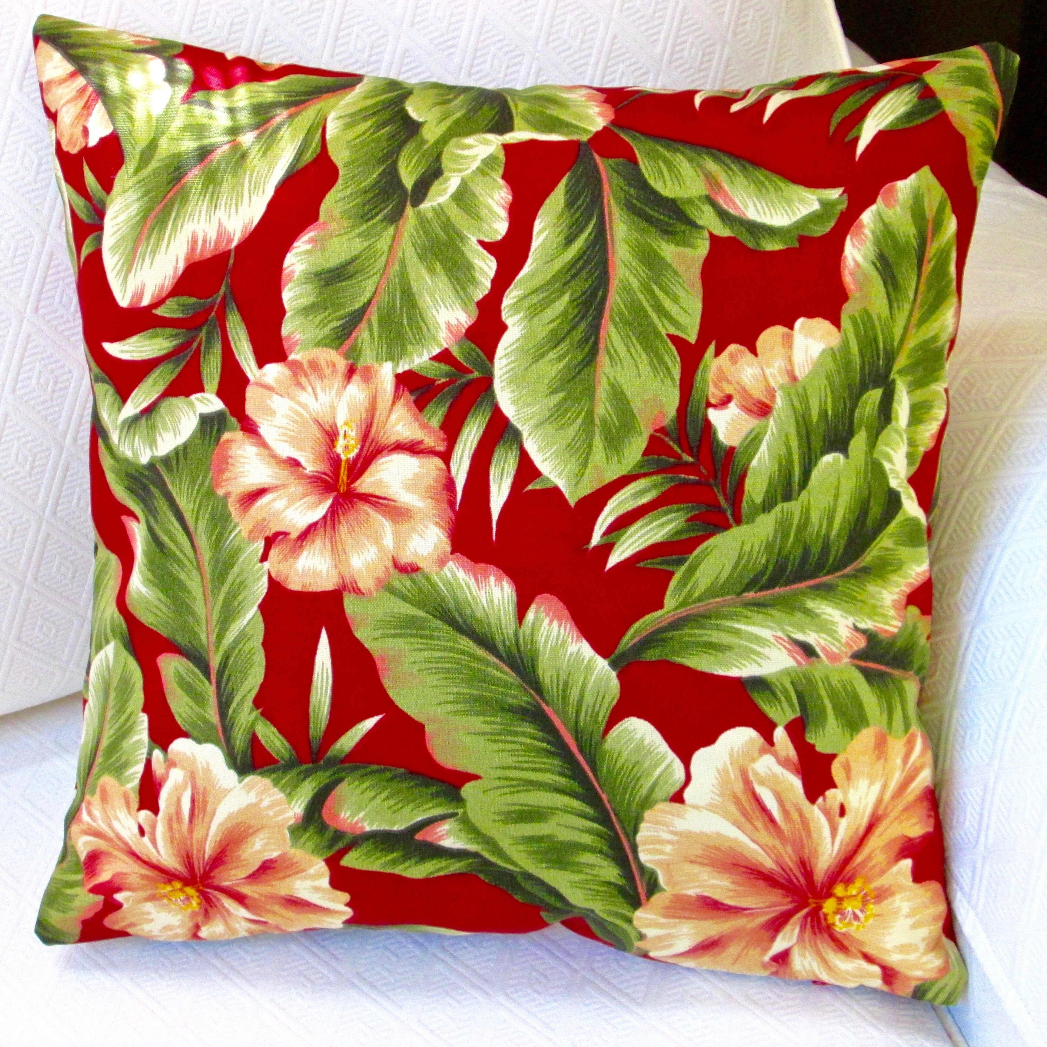Artisan Pillows Hawaiian Tropical Island Beach House Hibiscus Flower