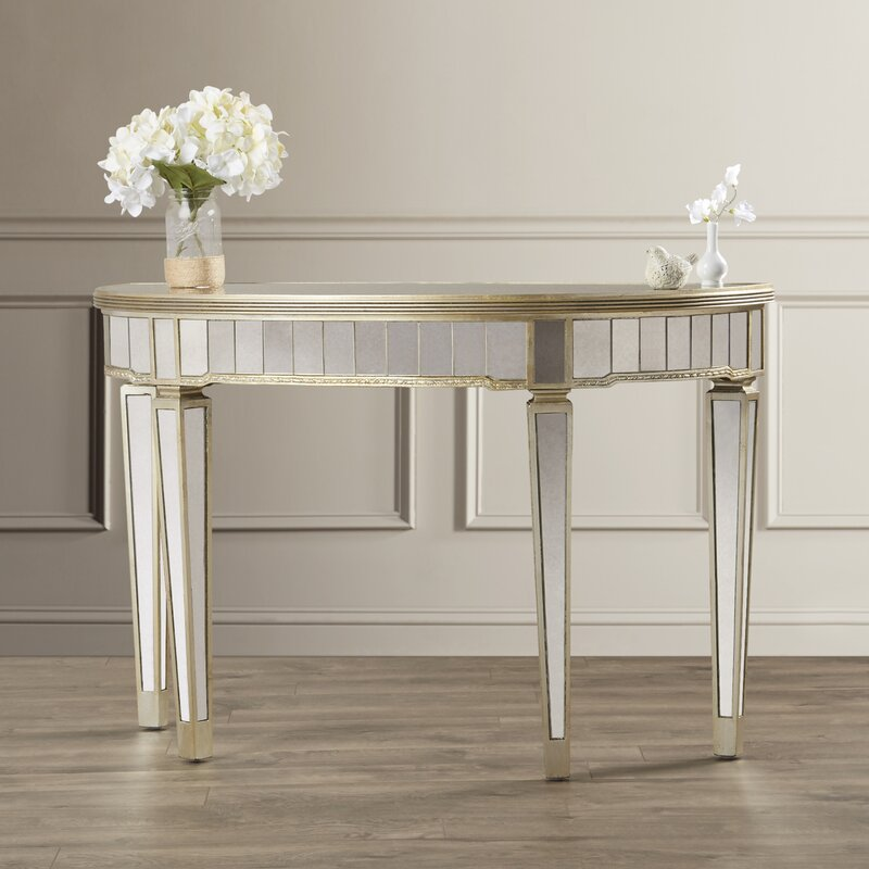 Roehl Mirrored Console Table in Antique Silver - Willa Arlo Interiors Roehl Mirrored Console Table In Antique Silver