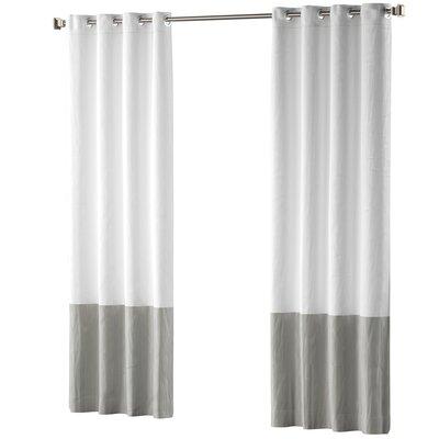 Mercury Row Claus Color Block Cotton Blend Striped Blackout Thermal Grommet Curtain Panels Color: Gray
