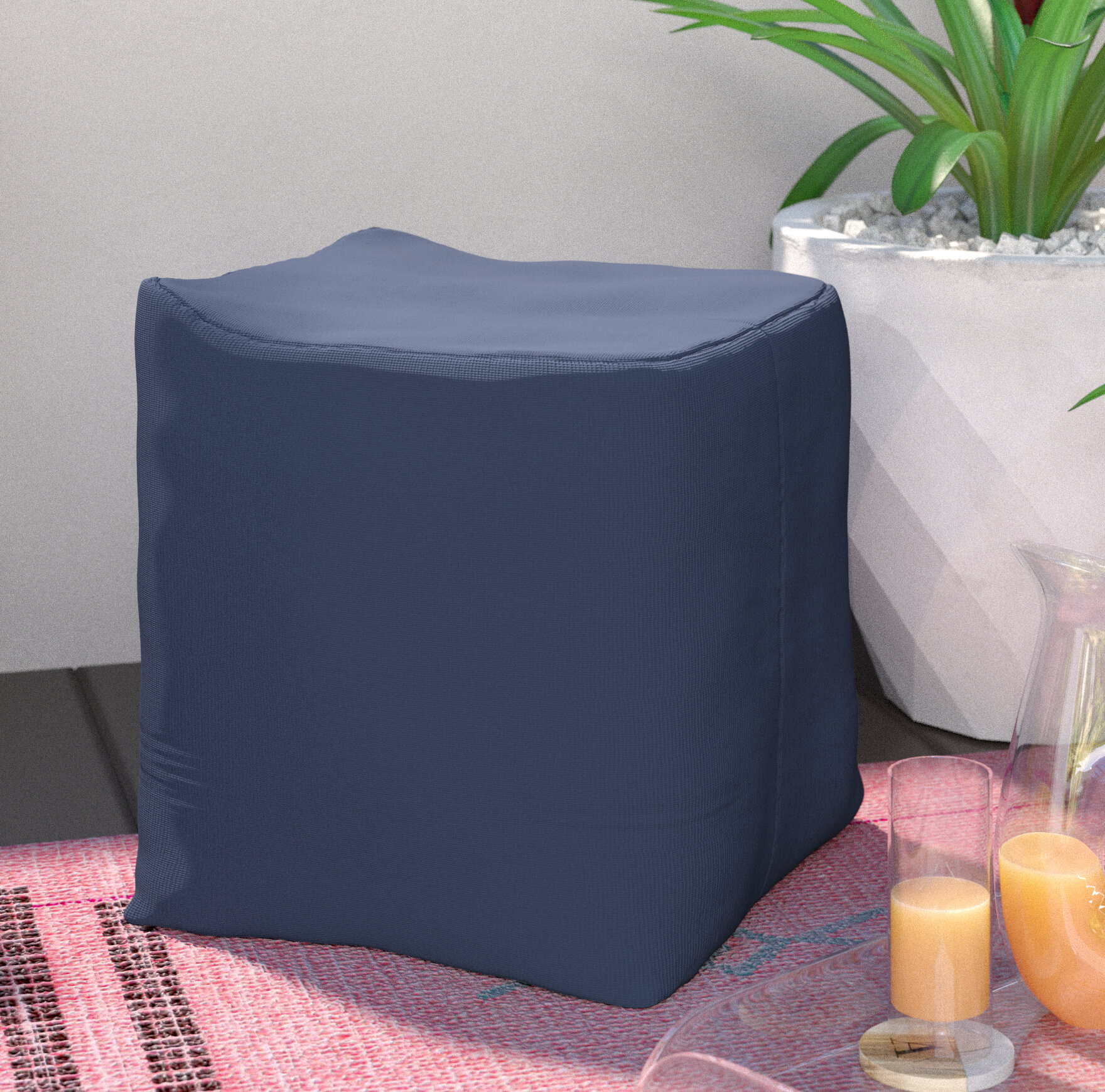 Zipcode Design Ayala Square Outdoor Pouf Ottoman U0026 Reviews | Wayfair