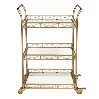 Bungalow Rose Menachem Metal 3 Tiered Tray Bar Cart Frame Color: Gold