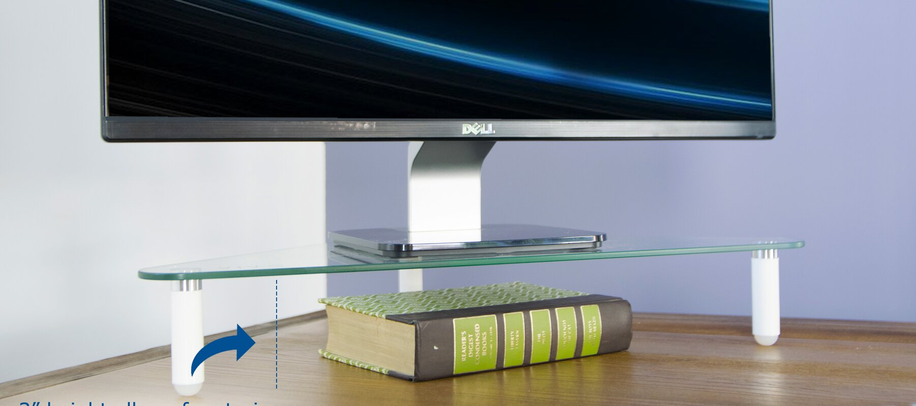 Glass Tabletop Riser Triangle Corner Desktop Stand