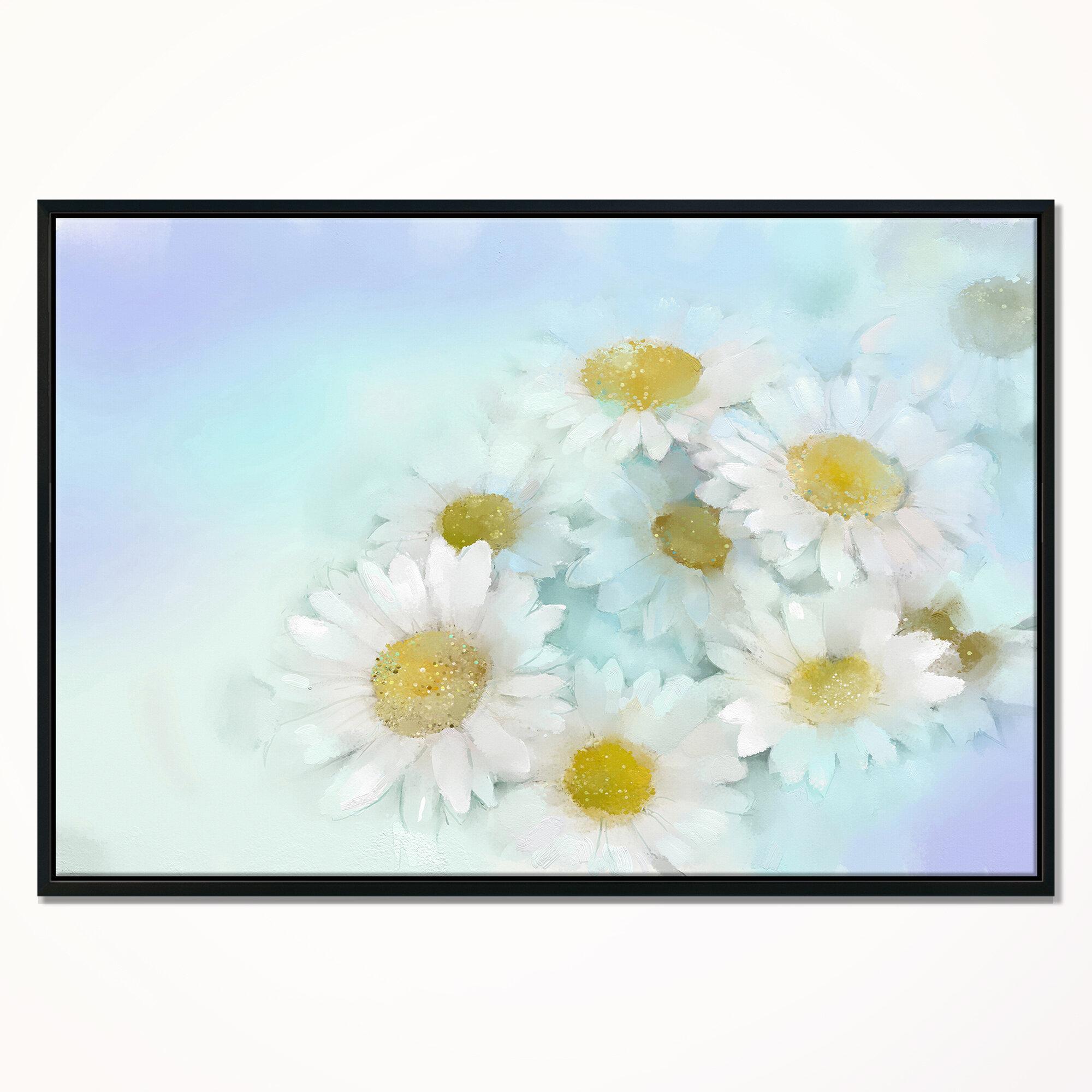 East Urban Home White Gerbera Flowers On Light Blue Framed Print