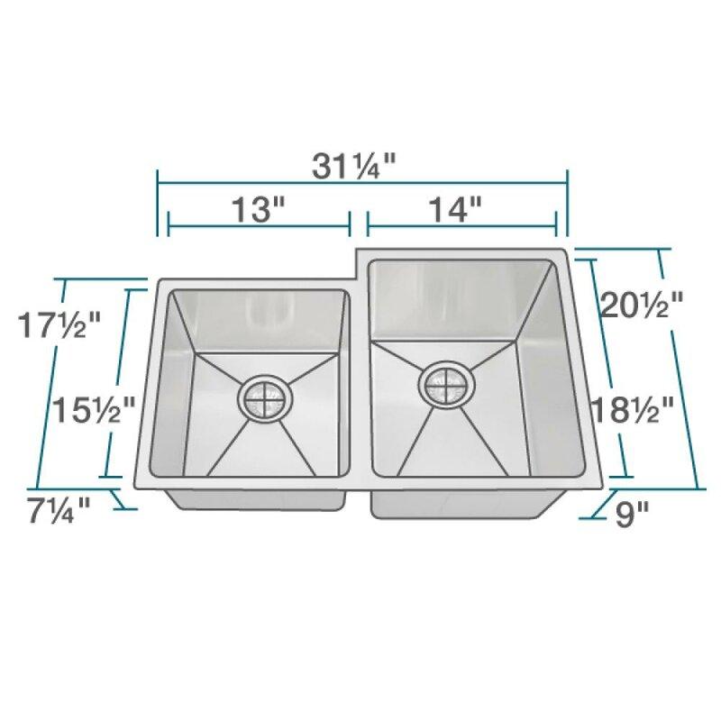 stainless steel 31   x 21   double basin undermount kitchen sink mrdirect stainless steel 31   x 21   double basin undermount kitchen      rh   wayfair com