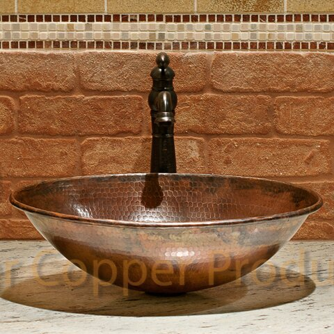 Premier Copper Products Wired Rimmed Metal Oval Vessel