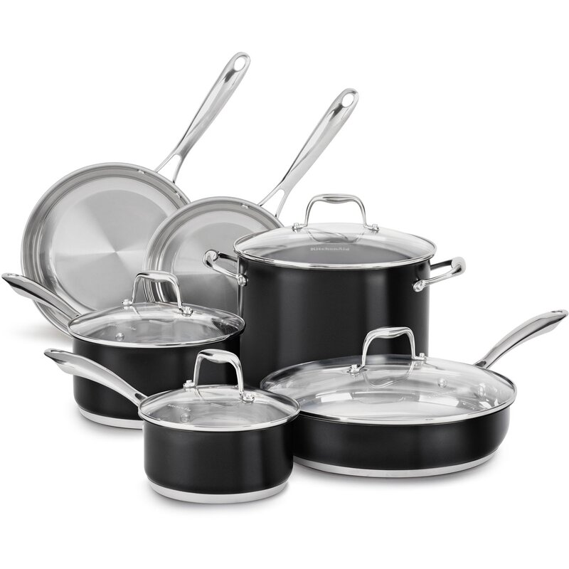 Kitchenaid 10 Piece Stainless Steel Cookware Set Reviews Wayfair