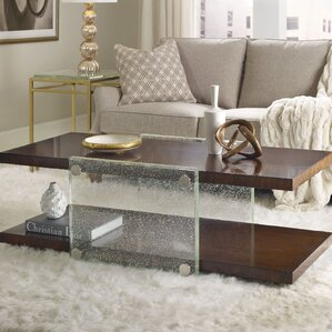 Skyline Bubble Glass Coffee Table with Magazine Rack by Hooker Furniture