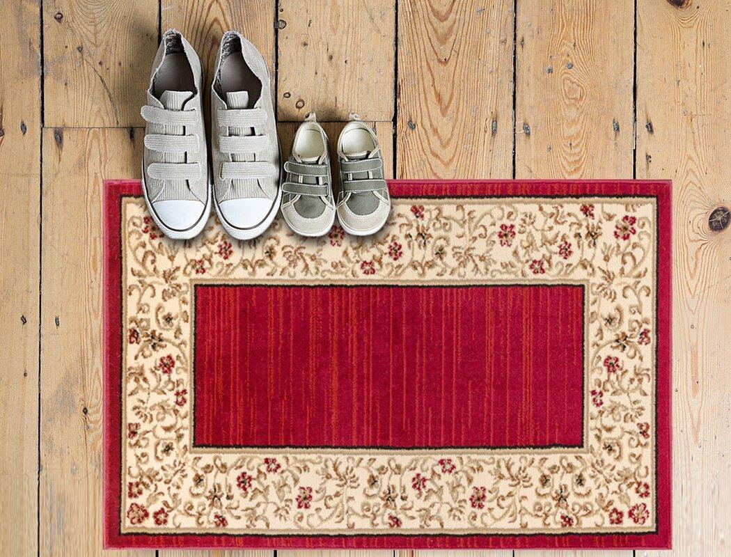 andover mills dinah terrazzo border red floral area rug u0026 reviews