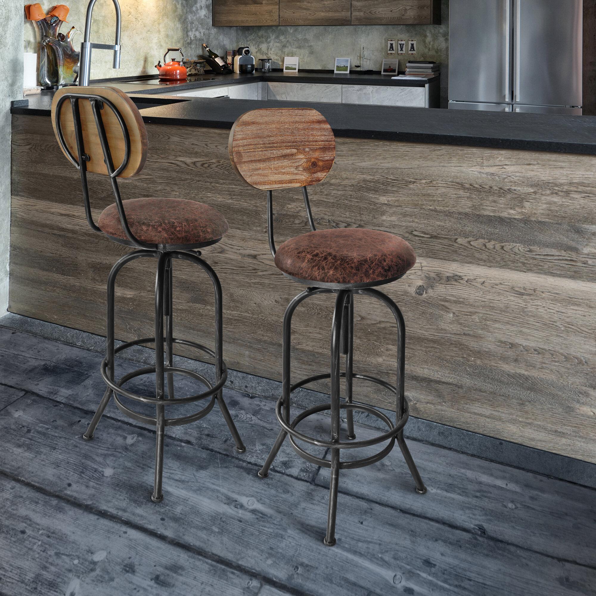 Gracie Oaks Adele Industrial Adjustable Barstool In Silver Brushed