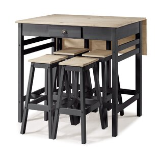 Stockwood Folding 5 Piece Adjustable Pub Table Set