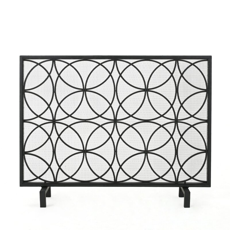 Attractive Servais Single Panel Iron Fireplace Screen