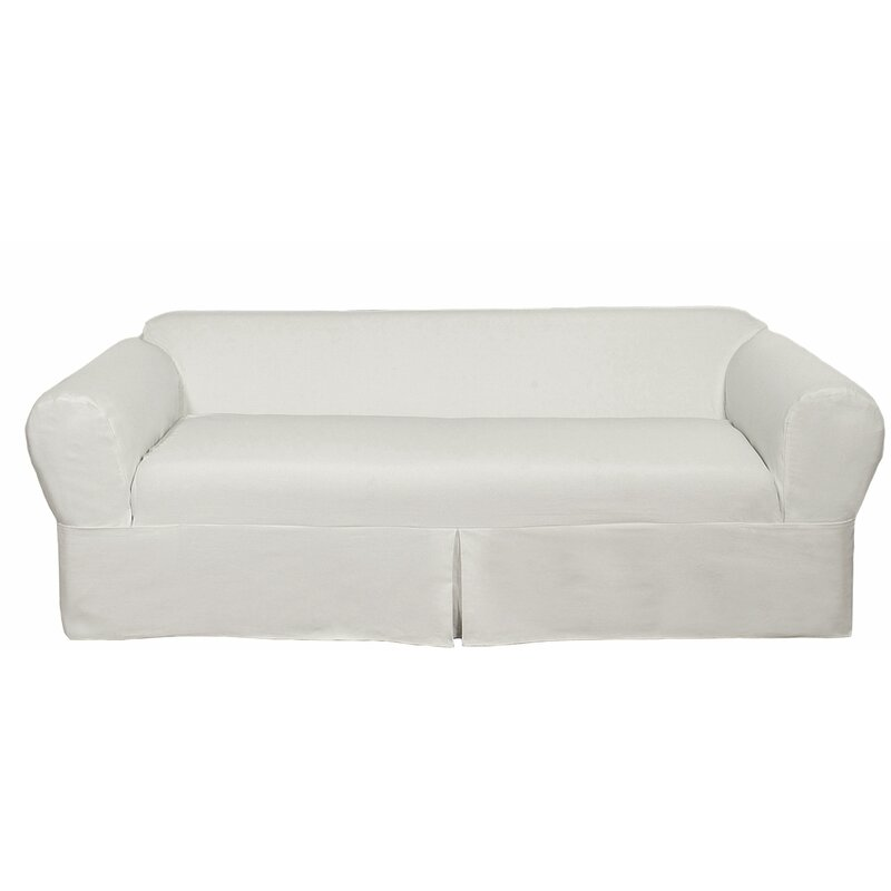 Darby Home Co Twill Box Cushion Sofa Slipcover & Reviews   Wayfair