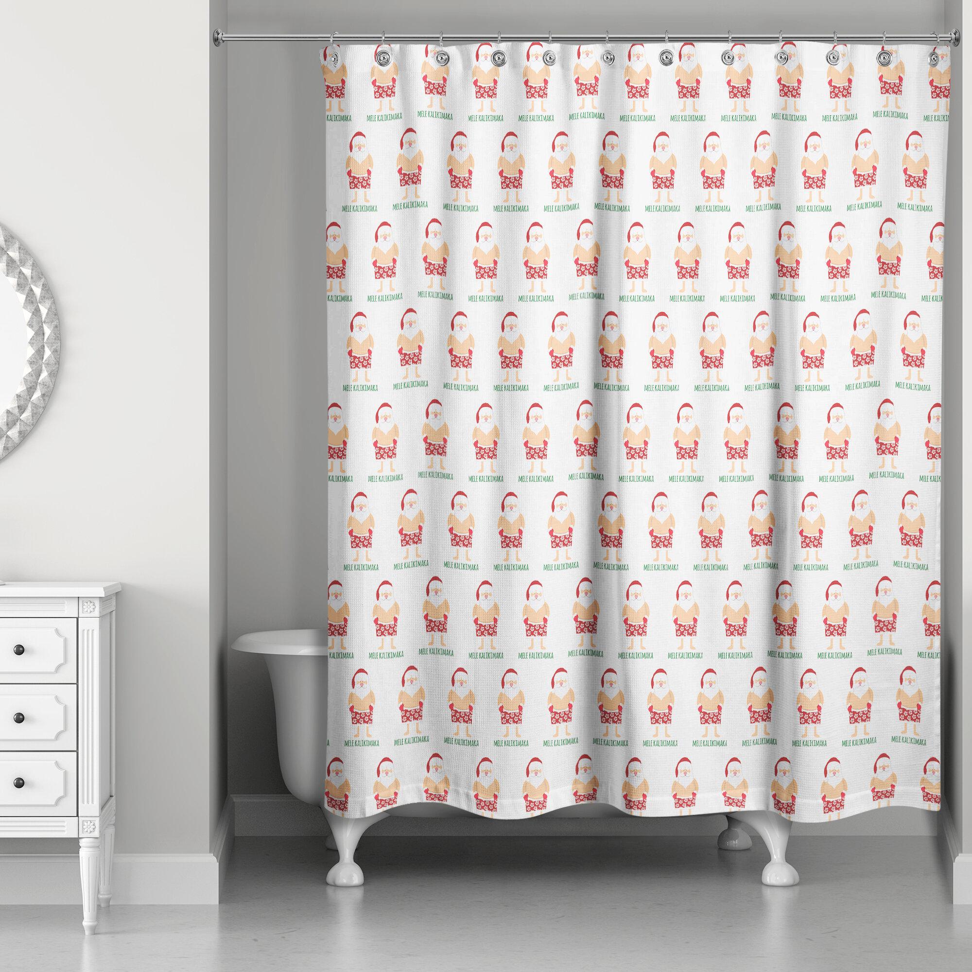 The Holiday Aisle Santa Bathing Suit Single Shower Curtain