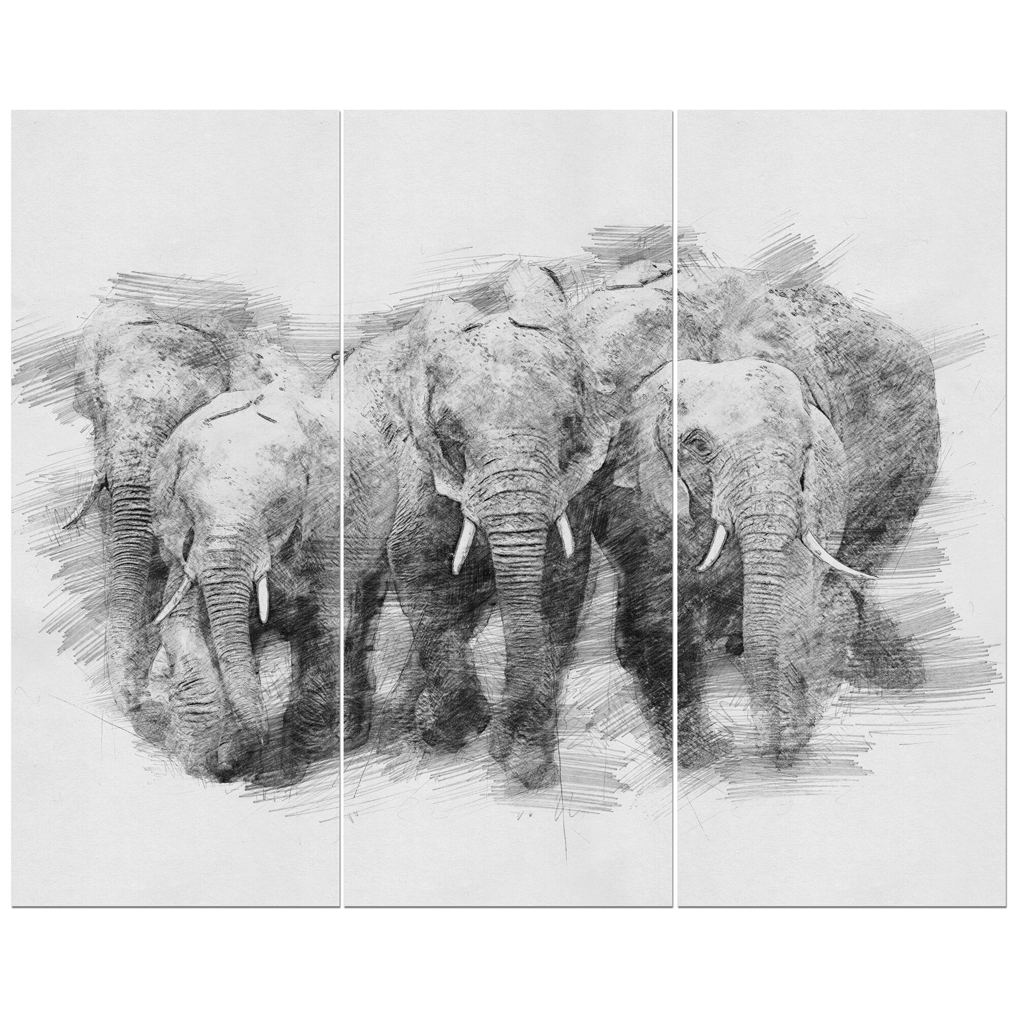 Black and white elephant pencil sketch oil painting print multi piece image on wrapped canvas