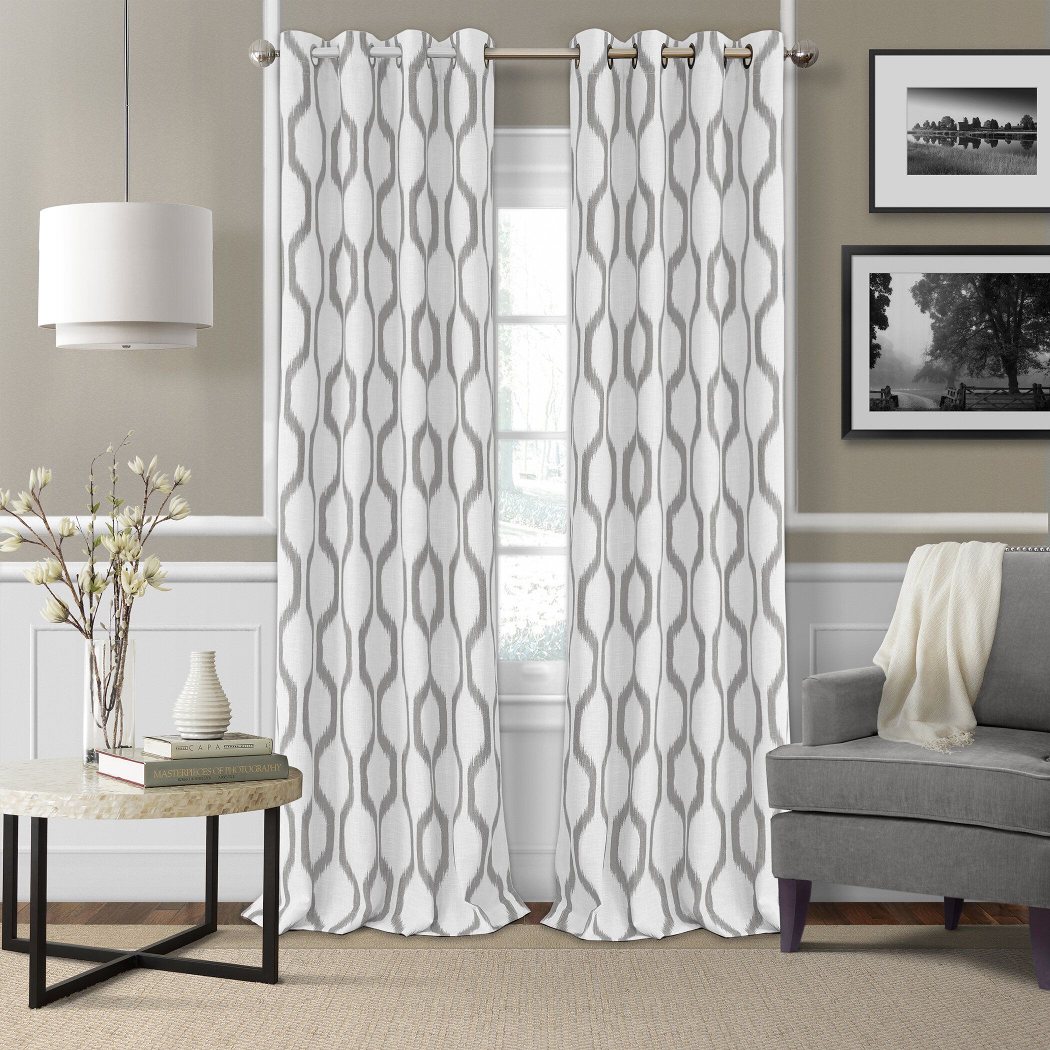 free product curtain panel geometric aurora reverse home blackout drapes garden trellis silk today overstock faux shipping x