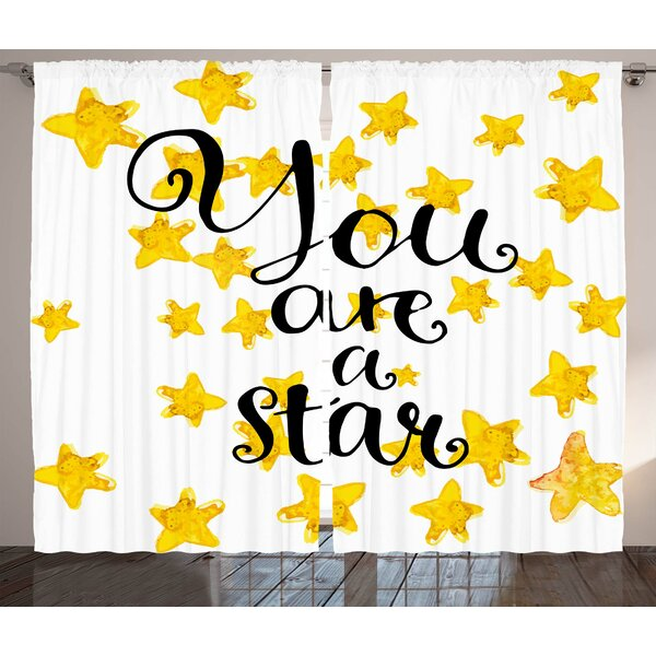 harriet bee giovanny lifestyle motivational you are a star phrase White 108 Curtain Panels harriet bee giovanny lifestyle motivational you are a star phrase encouragement good words design graphic print text semi sheer rod pocket curtain panels