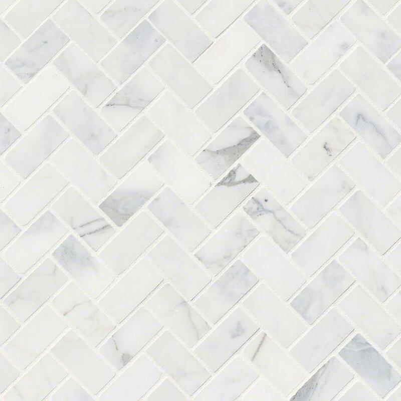 MSI Calacatta Cressa Herringbone Honed Marble Mosaic Tile in White ...