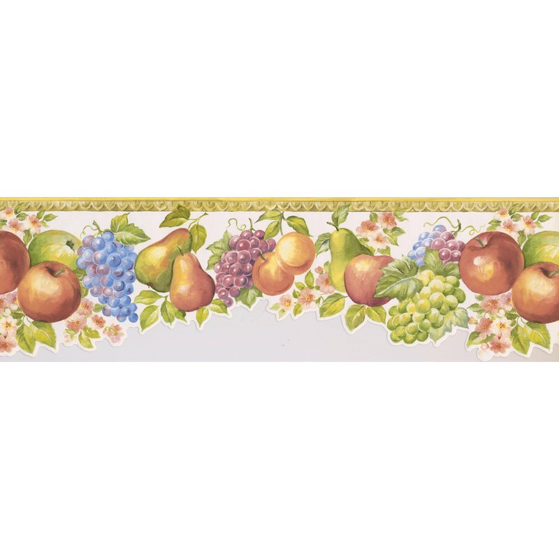 Brand new York Wallcoverings 15' L x 6.75'' W Fruits Apple Pear Grapes Peach  KB33