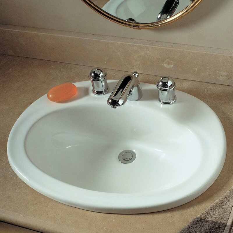 Piazza Ceramic Oval Drop In Bathroom Sink with Overflow American Standard