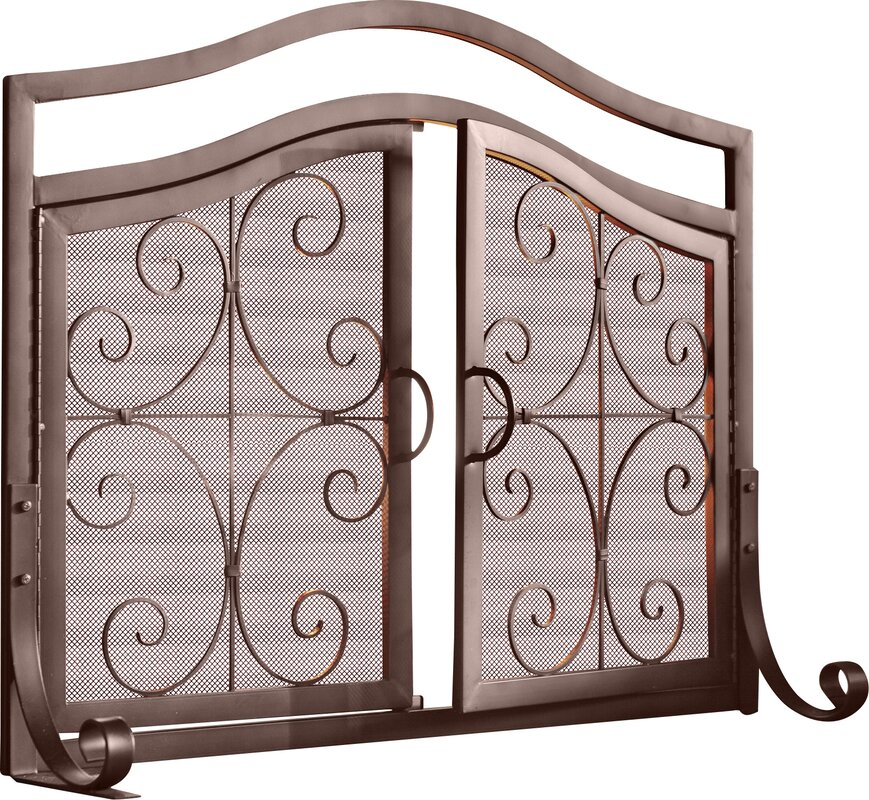 Plow & Hearth Small Crest Fireplace Screen with Doors & Reviews ...