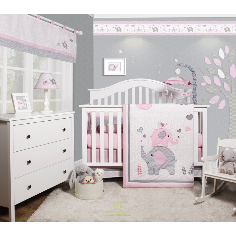Cheatwood Elephant Baby Nursery 6 Piece Crib Bedding Set