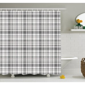 pattern with modified stripes crossed horizontal and vertical lines forming squares shower curtain set
