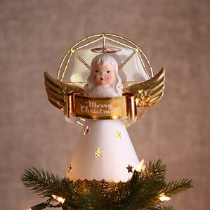 vintage inspired angel tree topper with light