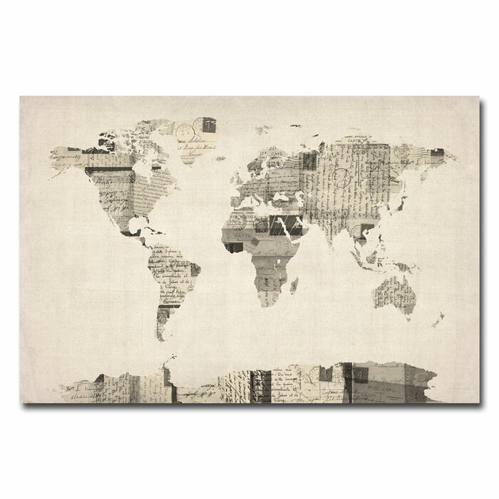 Trademark art vintage postcard world map graphic art on wrapped vintage postcard world map graphic art on wrapped canvas by michael tompsett gumiabroncs Choice Image