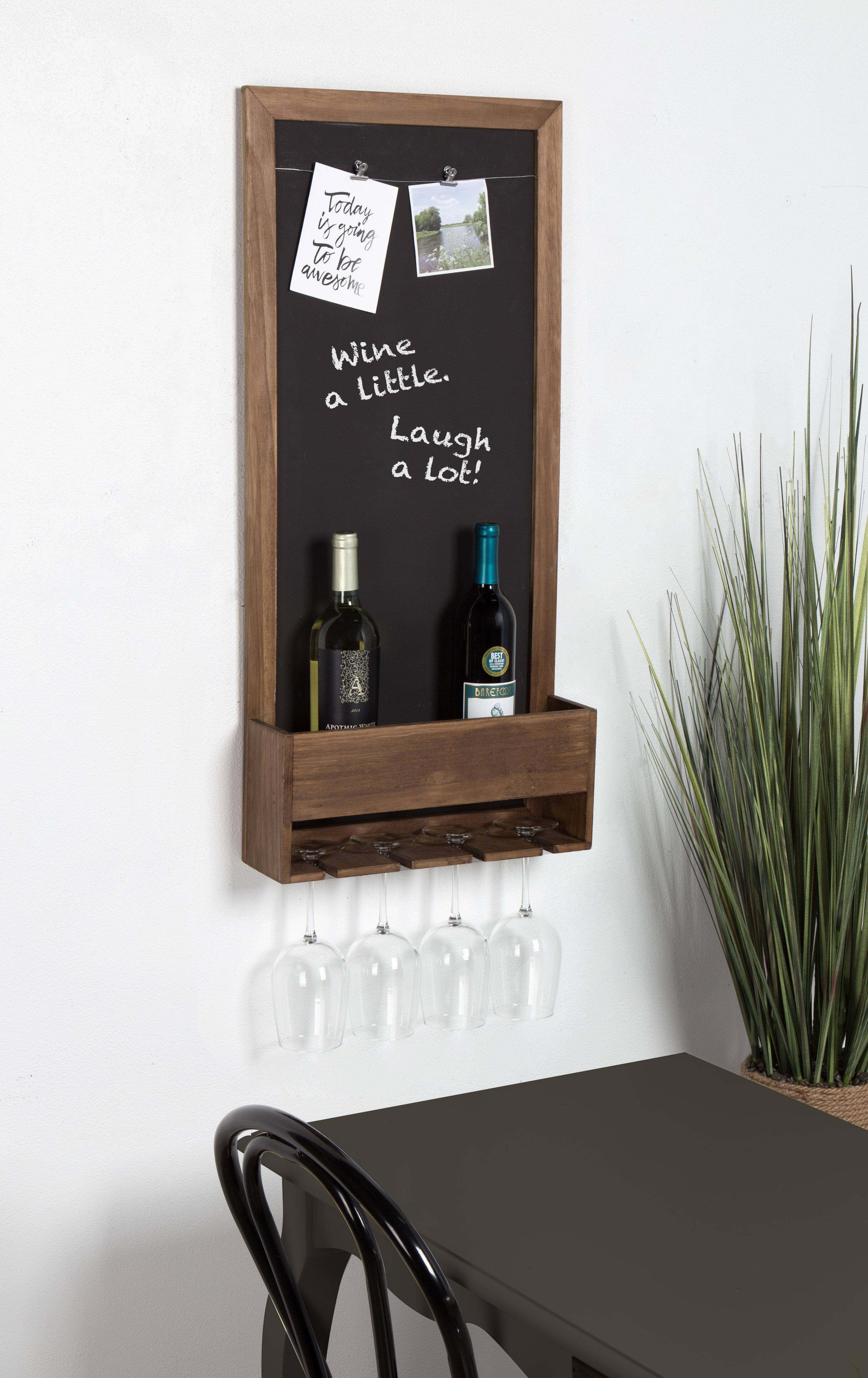 Gracie Oaks Mccaulley Wood Chalkboard 3 Bottle Wall Mounted Wine