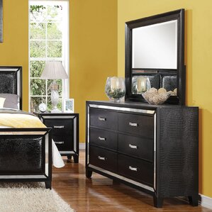 Mulki Mirrored 6 Drawer Double Dresser with Mirror by Everly Quinn