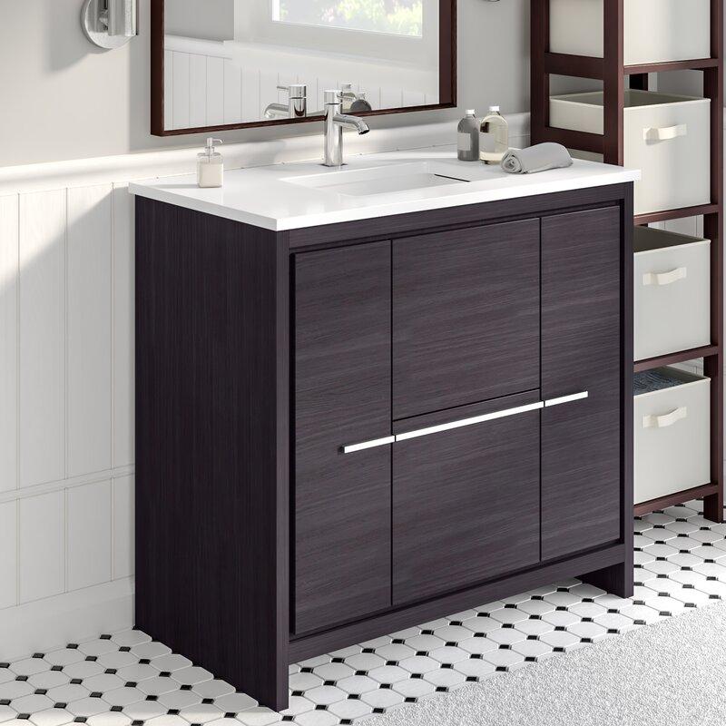 Phenomenal Bosley 36 Single Modern Bathroom Vanity Set Download Free Architecture Designs Grimeyleaguecom